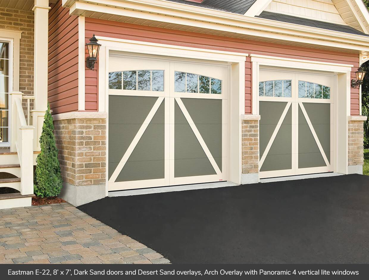 Eastman E-22, 8' x 7', Dark Sand doors and Desert Sand overlays, Arch Overlays with 4 vertical lite Panoramic windows